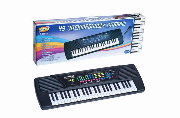Синтезатор (пианино электронное), 49 клавиш с микрофоном 78см, работает от встроенного адаптера 220V