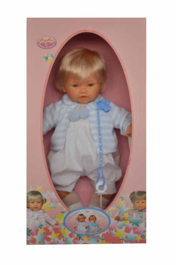 Кукла CARLA. в бело-голубом костюмчике
