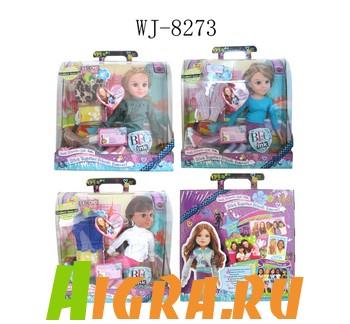 Кукла в наборе с аксессуарами в чемоданчике (одежда+обувь). 3 вида