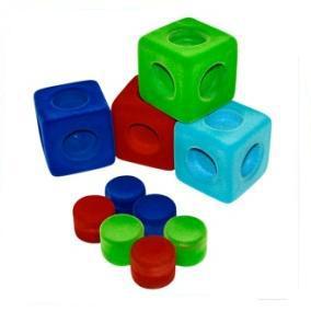 Кубики из натурального каучука с флок покрытием. 4шт