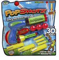Бластер воздушный PopShotz 1 пистолет. 3 шарика. 7 дротика ТМ ZING