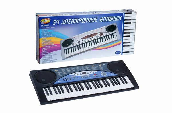 Синтезатор (пианино электронное), 54 клавиши с микрофоном 85см, работает от встроенного адаптера 220