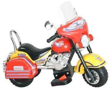 Мотоцикл с аккумулятором 3-х колесный желтый 73x44x58см (Китай)